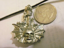 bling pewter wing bone skull human gothic pendant charm leather hip hop necklace