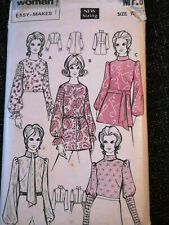Woman easy makes sewing pattern. MP8 Tunic Tops. 1970's