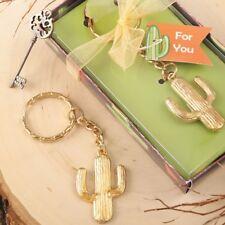 40 Gold Metal Succulent Desert Cactus Key Chain Wedding Party Gift Favors