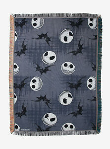 The Nightmare Before Christmas Jack Heads & Bats Tapestry Throw Blanket