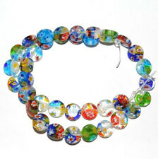 New 50Pcs Flat Shaped Millefiori Glass Loose Spacer Beads Jewelry Making DIY 6mm