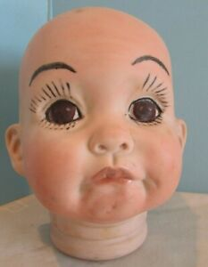 """Vtg  BISQUE DOLL HEAD BODY PARTS 5"""" TALL BLUE EYES """"jOEY""""  PAINTED"""