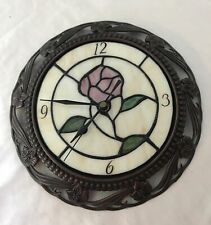 Round Stained Glass Look Flower Battery Powered Wall Clock Ornate Metal Frame