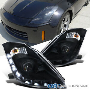 """For 06-09 Nissan 350Z Z33 Fairlady Black LED """"HID Type"""" Projector Headlights"""