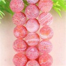 "Pretty 8mm Red Dream Fire Dragon Veins Agate Gemstone Round Loose Beads 15"""