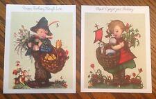 2 Vintage Hummel Belated Birthday Greeting Cards by Hummel Art