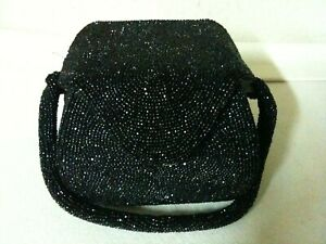 Vintage Black Beaded Square Box Bag by Josef Hand Beaded In Belgium Clutch Purse