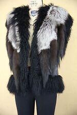 Adrienne Landau Mongolian Fur Vest Gilet Jacket Coat Shaggy Fur Tail Black Grey