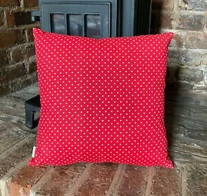 676. Handmade WHITE SPOTS ON RED 100% Cotton Cushion Cover.Various sizes