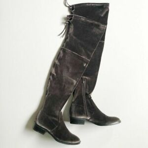 SAM EDELMAN 8 Patricia Over the Knee High Boots Gray Velvet Flat Almond Toe