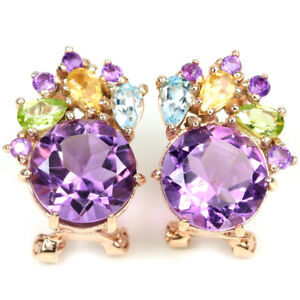GENUINE AAA PURPLE AMETHYST PERIDOT CITRINE & TOPAZ STERLING 925 SILVER EARRING