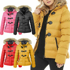 NEW WOMENS LADIES QUILTED WINTER COAT PUFFER FUR COLLAR HOODED JACKET PARKA UK++