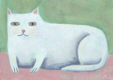ACEO White Cat Original Painting Whimsical Outsider Folk Art signed SFStudio
