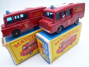 VINTAGE MATCHBOX LESNEY No.57c LAND ROVER FIRE TRUCK PAIR IN ORIGINAL BOXES 1966