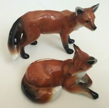 VINTAGE EARLY FRANZ PORCELAIN RED FOXES PAIR FIGURINES