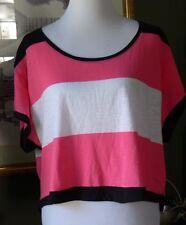 Victoria's Secret PINK Black/White/Pink Stripe Boxy Cropped Hi-Lo T-Shirt Top S
