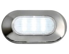 LED Oval Light Stainless Steel Blue 83 Lumen 12V 1.2W. Marine IP67 Recessless