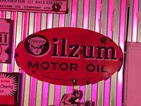 Antique style porcelain look oilzum motor oil large dealer service station sign