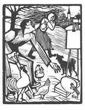 Conrad FELIXMÜLLER - APRIL - Mein MODELL KOMMT  1947 OriginalHolzschnitt