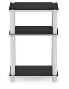 End Table Accent Nightstand Side Reversible Small Space Black Printer Fax White