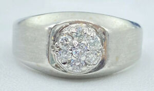 1/2 ct mens NATURAL DIAMOND cluster pinky ring 14k white GOLD ( VIDEO)