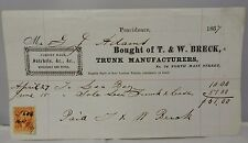 T & W Breck Trunk Manufacturers Bags 1867 Receipt Signed And Stamped Satchels