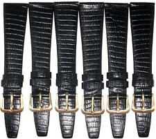 LOT OF 6PCS OF WATCH BANDS BLACK GENUINE LEATHER LIZARD GRAIN 18MM
