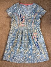 Joe Browns Blue Print Embroidered Cotton Dress Size 16 Pretty Casual