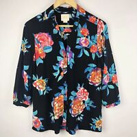 Anthropologie Maeve Woodland Walk Button Floral Top Blouse 3/4 Sleeves Size 8