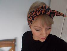 HEAD SCARF HAIR BAND leopard print black oranage stretch NECK TIE ROCKABILLY