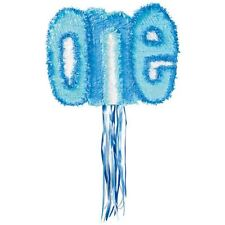 Pull String Blue One Pinata 1st Birthday Party Game