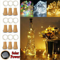 5Pc 2M 20LED Solar Cork Wine Bottle Stopper Copper Wire String Lights Fairy Lamp