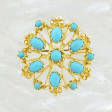 14k Yellow Gold Estate Cabochon Turquoise Flower Pin