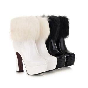 Womens Patent Leather High Block Heels Platform Furry Back Zipper Ankle Boots