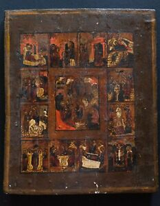Antique Russian Orthodox Icon Resurrection of Christ Virgin Mary Old Religious