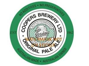 NEW COOPERS BEER PALE ALE  DECAL STICKER LABEL LARGE 240 MM WIDE xx