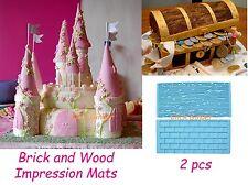 Wood & Brick Impression Emboss Mat (2pcs) Fondant Sugarcraft Cake Decorating