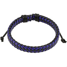Woven Checkered Leather Bracelet Blue and Black Diagonally