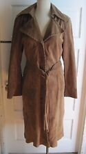 Clothes by H&M Brown Suede Leather Belted Fringe Tie Long Maxi Coat Womens 12