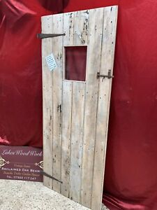 RECLAIMED - ANTIQUE PINE FARMHOUSE PLANK DOOR (Part Glass, Old Hinges, Latch)