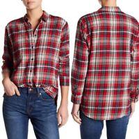 Madewell Classic Ex-Boyfriend Plaid Flannel Shirt Button Down Top size Medium