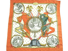 HERMES Auth Scarf Carre 90 NAPOLEON Orange White Silk Elegant Ladies NOS #0769