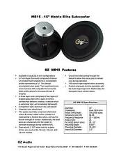 "Oz Audio 15"" Matrix Elite Subwoofer 2 Ohm 1400Watt 143db RARE! USA Audiophile"