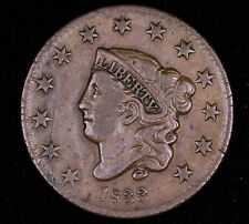 1833 CORONET HEAD LARGE CENT COPPER PENNY COIN VERY FINE #NC1036