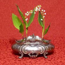 Antique French Art Nouveau & Rococo Centerpiece / Jardiniere, Silvered Pewter