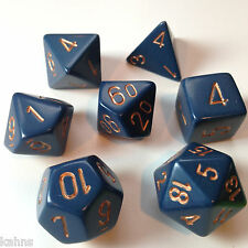Chessex Dice Poly - Opaque Dusty Blue w/ Gold -Set Of 7- 25426 - Free Bag!  DnD