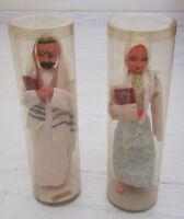 Vintage Israel Jewish Figures Doll Lot of 2 Man Rabbi & Woman Torah Hand Made