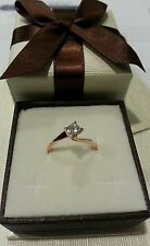 Anillo solitario Oro rosa - Diamantes 0,20 Ct f color vs - promesa boda