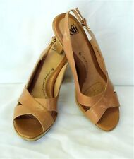 NEW SOFFT 9.5/41 Portia Slingback Sandals Shoes Tan Leather Cross Strap Heels