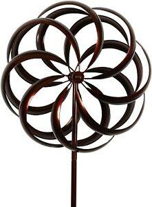 Kinetic Flower Wind Spinner Windmill Outdoor Lawn Garden Decor Patio Stake Metal